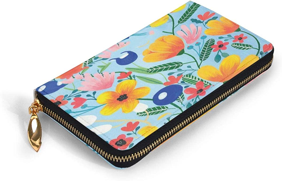 Floral Design Genuine Leather Girl Zipper Wallets Clutch Coin Phone For Women
