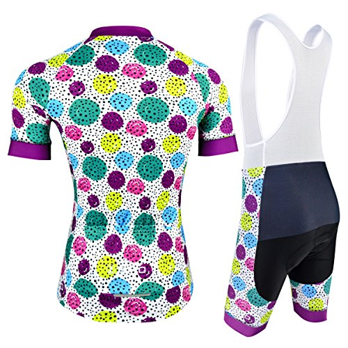 Women Cycling Suits, Breathable Bicycle Jersey with Padded Bib Shorts for Mountain Bike Racing, Dotted Pattern, Multi-Color