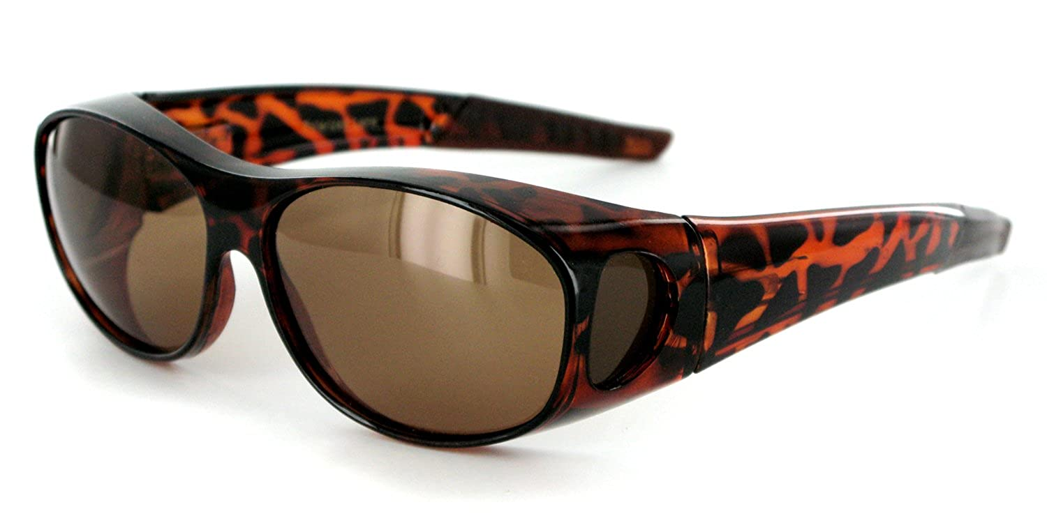 """Hideaways"" Small to Medium Polarized Over-Prescription Sunglasses (Tort w/ Amber)"