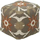 Surya POUF-33 Hand Made 80% Wool / 20% Cotton Tan 18'' x 18'' x 18'' Pouf