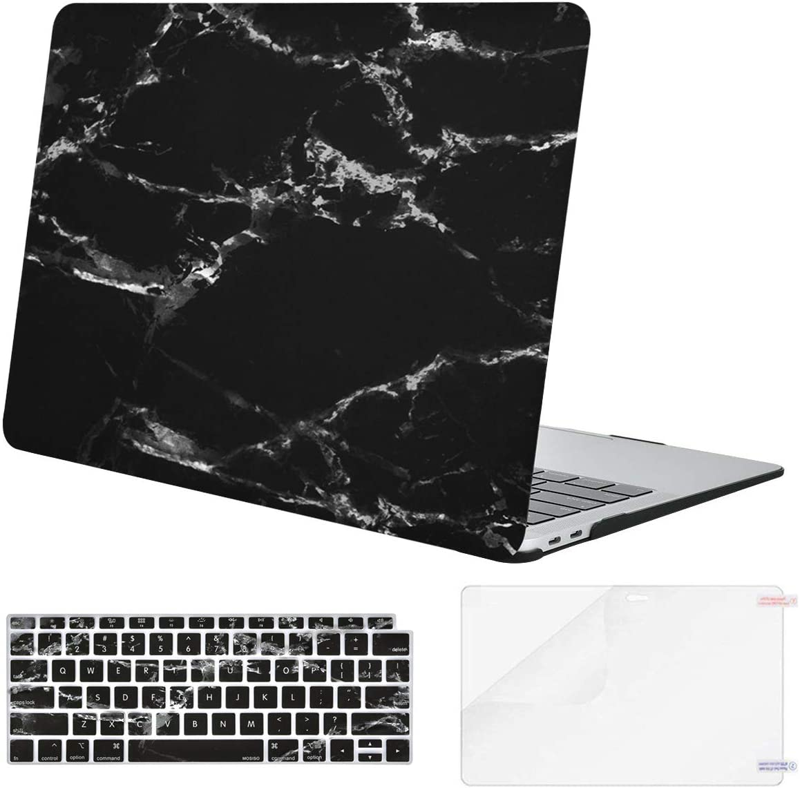 MOSISO MacBook Air 13 inch Case 2020 2019 2018 Release A2179 A1932 Retina Display, Plastic Pattern Hard Shell & Keyboard Cover & Screen Protector Only Compatible with MacBook Air 13, Black Marble