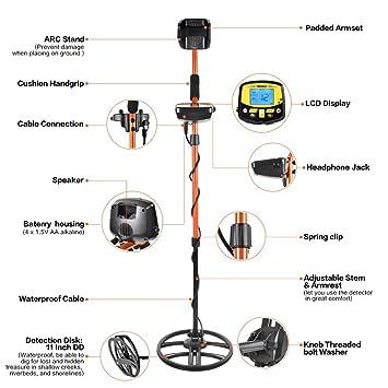Detector de Metales Profesional,Detector de Metales Subterráneo,Pinpointer Gold Detector Cacciatore di Tesori,Función de P / P,Pantalla LCD,Modo de ...