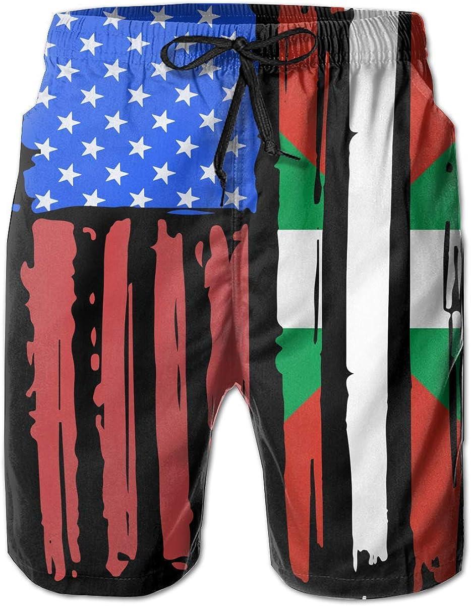 Pantalones Cortos Hawaianos Frescos para Hombre de la Bandera del país Vasco Americano para Surfear Arena y diversión: Amazon.es: Ropa y accesorios