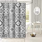 Uphome Grey Tile Fabric Shower Curtain - Custom Grid Marble Pattern Polyester Bathroom Stall Shower Curtain, Water Repellent Mildew Resistant, 60''W x 72''L