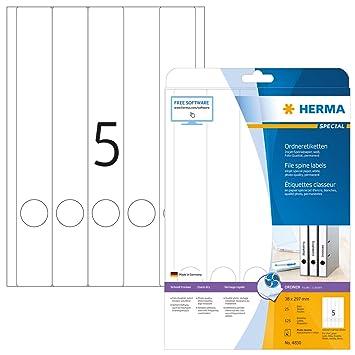 HERMA 4830 - Lote de 125 etiquetas para archivadores (papel especial para tinta de impresora, 38 x 297 mm), color blanco: Amazon.es: Oficina y papelería