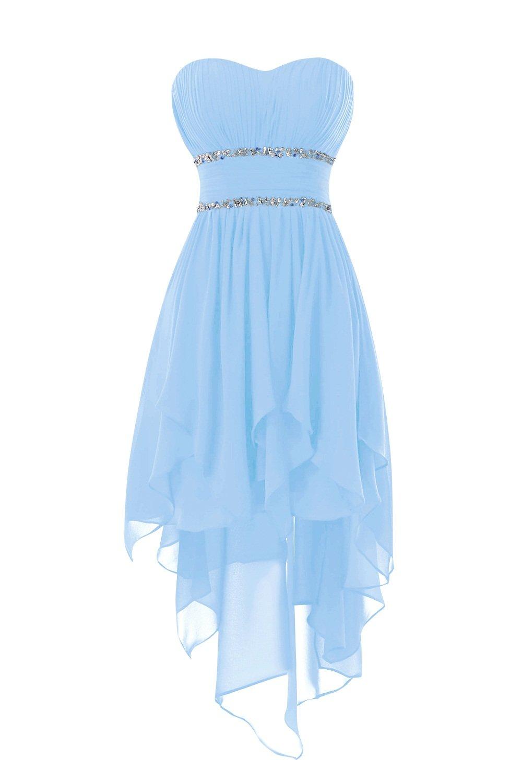 Bess Bridal Women's Beaded High Low Chiffon Prom Homecoming Dresses US22W Sky Blue