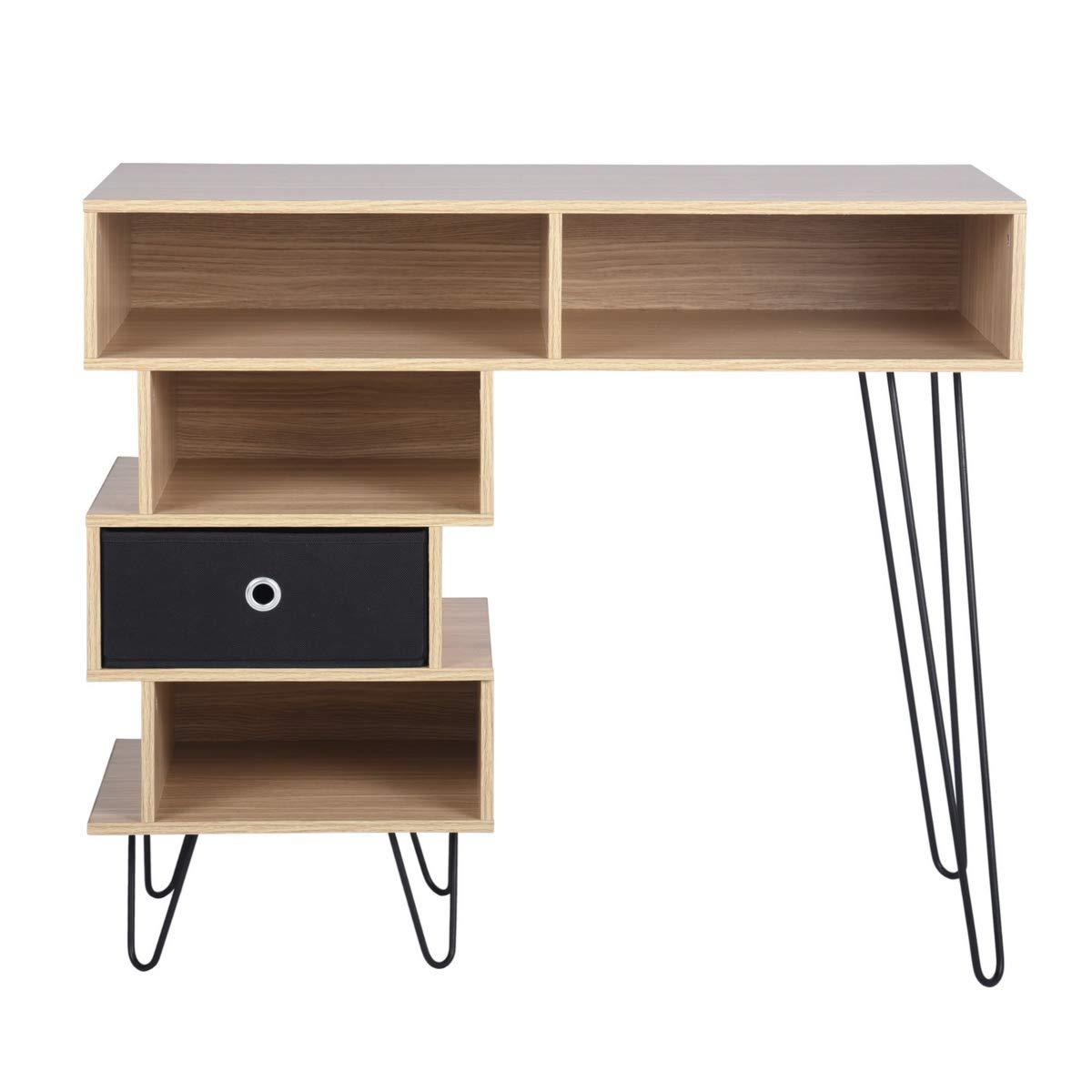 Aingoo Tavolino da Scrivania in legno con piccolo scrittoio con gambe in metallo e cassetti portaoggetti