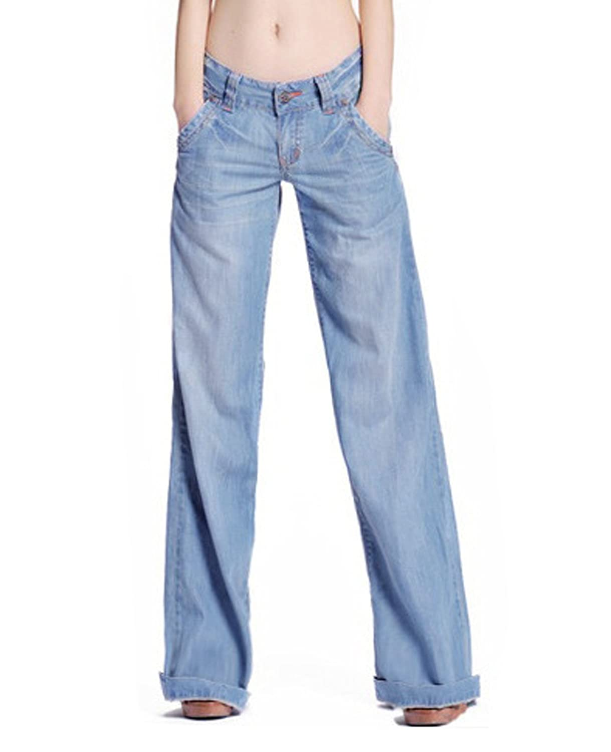 the latest 7be5c 347af S&S-women Petite Denim Washed Blue Wide Leg Palazzo Jean Pants