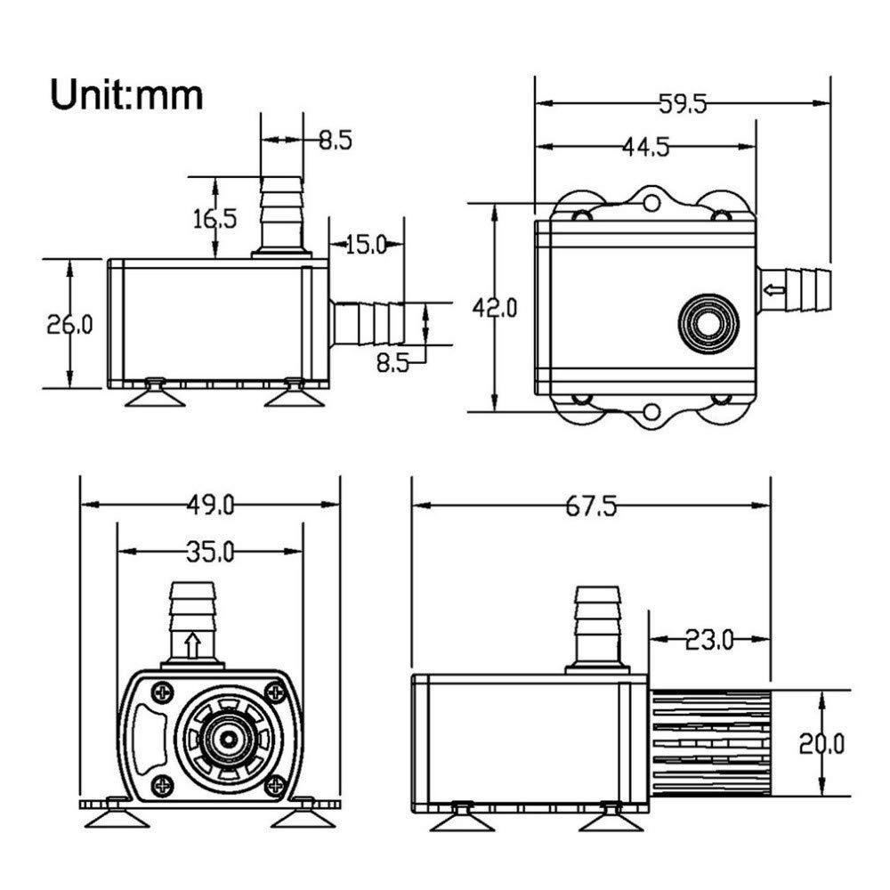USB 5 V DC12 V XuBa b/ürstenlose Wasserpumpe Power: Dc12v 10w Mini 4 Modi einstellbar Qr50h