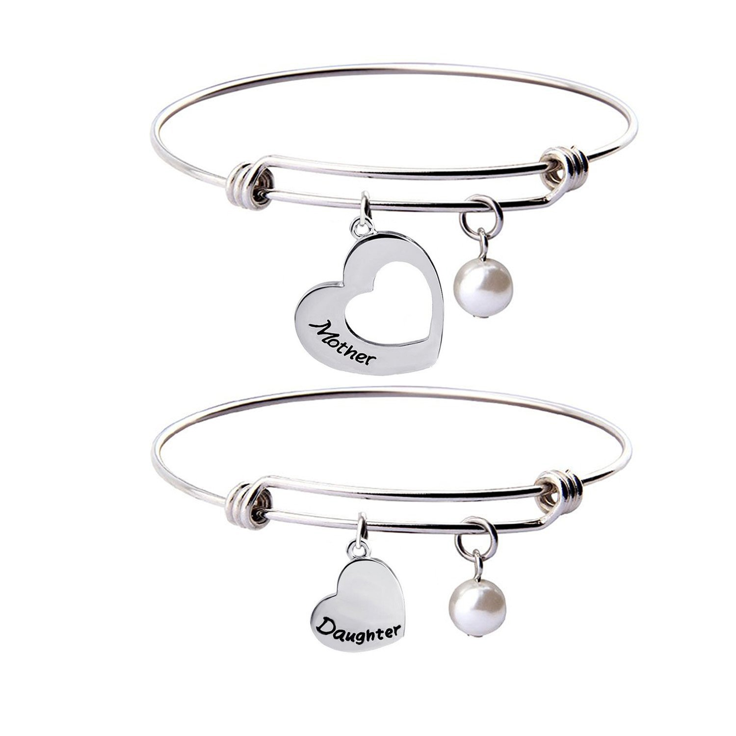 KUIYAI Mother Daughter Bracelet Set of 2 Matching Heart Mom and Me Jewelry (Mother daughter bangle set)
