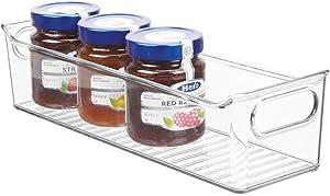"mDesign Slim Plastic Kitchen Pantry Cabinet, Refrigerator or Freezer Food Storage Bin with Handles - Organizer for Fruit, Yogurt, Snacks, Pasta - BPA Free, 14"" Long - Clear"