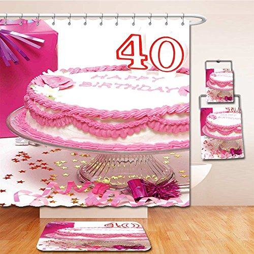 Beshowereb Bath Suit: Showercurtain Bathrug Bathtowel Handtowel 40th Birthday Decorations Pink Cream Cake with Candlesticks Gift Box Surprise Party Pink White Red