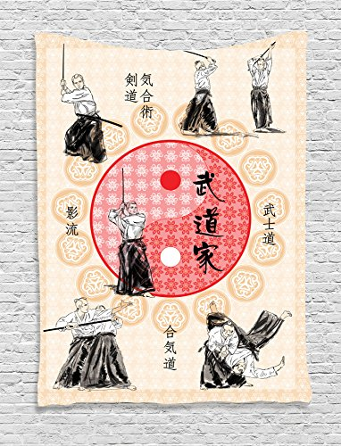 Ambesonne Home Decor Collection, Japanese Culture Decor Ying Yang Mandala Print Samurai Figures Far Eastern Sports Theme, Bedroom Living Room Dorm Wall Hanging Tapestry, Ecru Red
