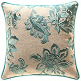 TINA'S HOME French Country Floral Decorative Throw Pillows with Down Feather Insert | Embroidery Linen Couch Sofa Bed Home Kitchen Accent Pillows (20 x 20 inches, Teal)