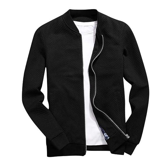 Mens Casual Long Sleeve Full Zip Jacket Turn-Down Collar Top Pockets Outwear