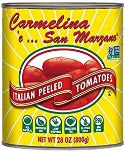 Carmelina San Marzano Italian Whole Peeled Tomatoes in Puree, 28 ounce (Pack of 6)