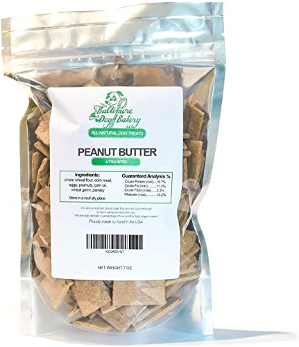 Baltimore Dog Bakery New Peanut Butter All-Natural Dog Treats, 7oz Resealable Bag, Healthy Dog Training Treats, Dog Biscuits, Healthy Dog Cookies, Hand Made in The USA