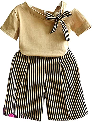Kids Baby Girls Bowknot T-shirt Dress Tops Striped Trousers Clothes Outfits Sets