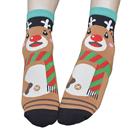 DeemoShop 3D Printed Christmas Casual Cute Santa Socks Unisex Low Cut Ankle Socks Christmas Socks Calcetines