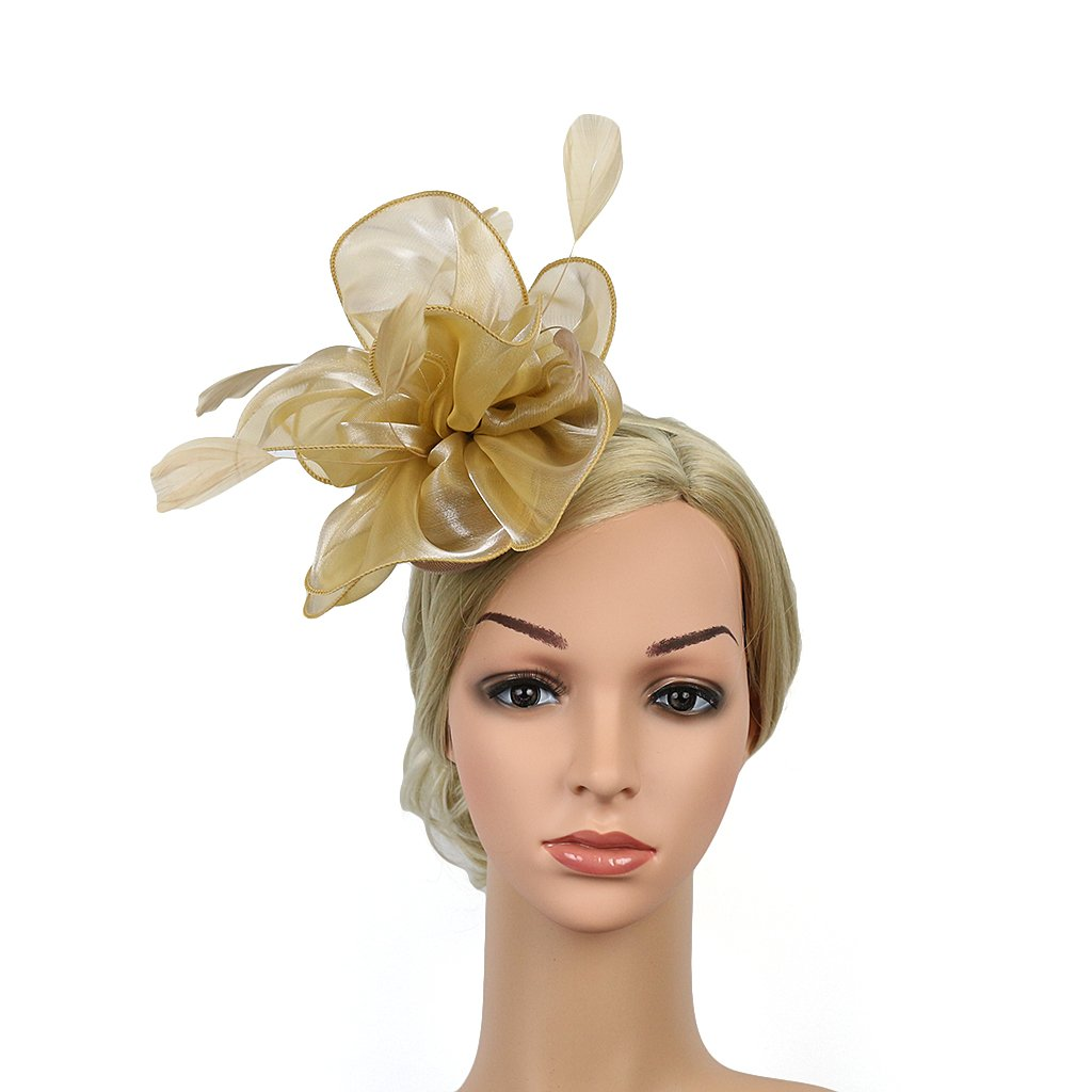 Hilary Ella Charming Mesh Feather Hair Clip Women Girls Hairpin Cocktail Party Flower Barrette Fascinator Hat