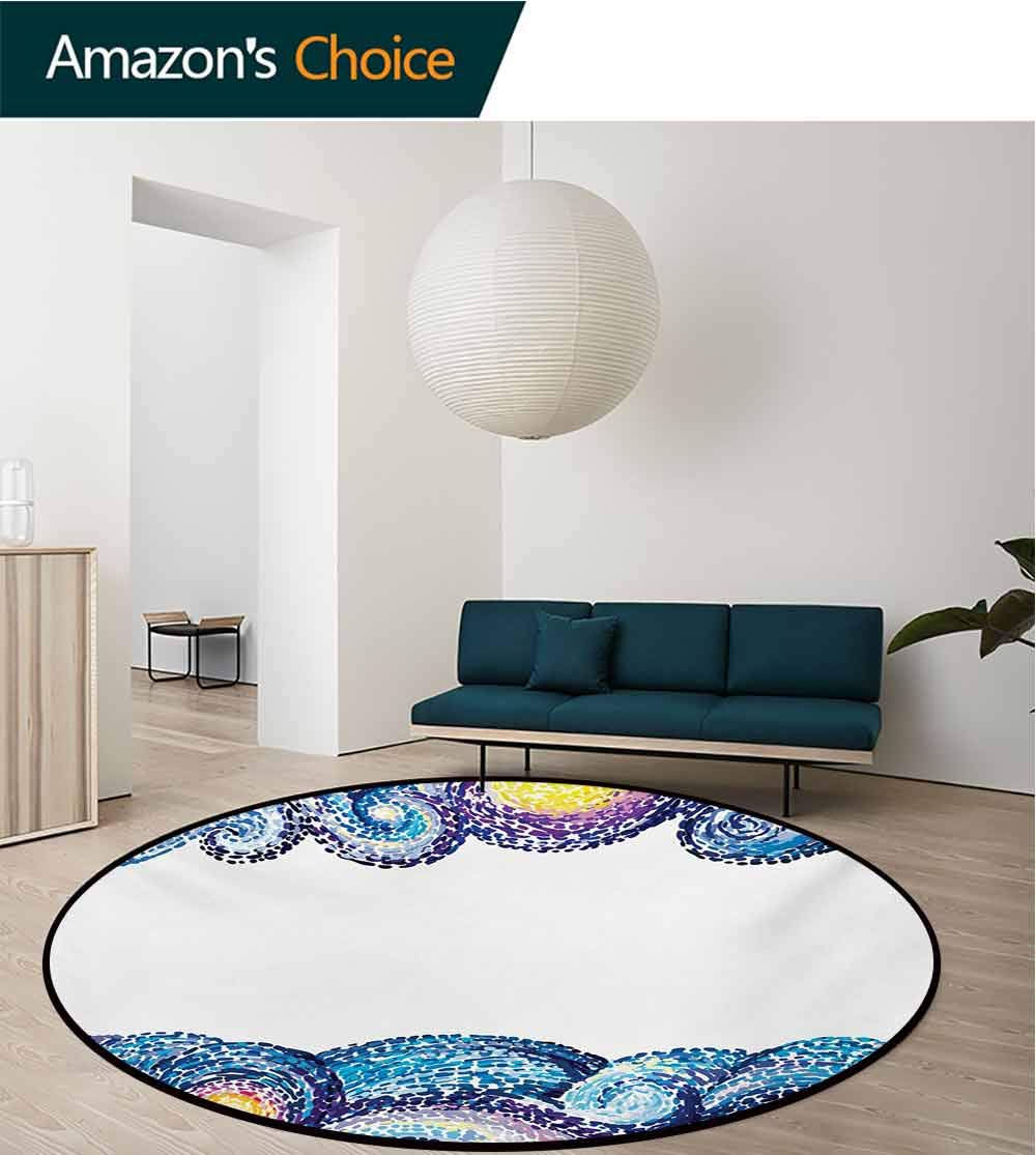 RUGSMAT Starry Night Round Area Rugs Bedroom,Artistic Dots Wave Design with Watercolor Brush Strokes Nautical Inspirations Lifts Basket Swivel Chair Pad Coffee Table Rug,Round-71 Inch