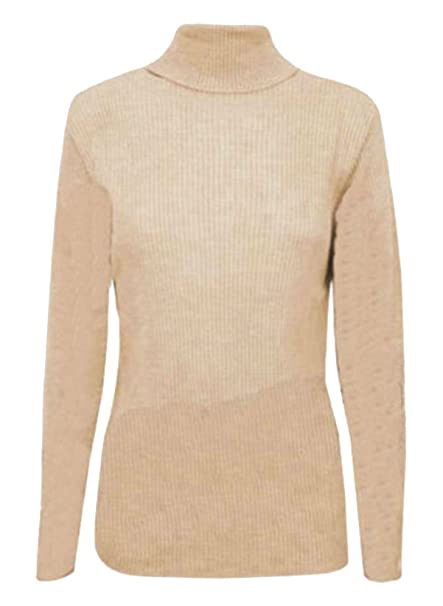 713d80e0458d87 RIDDLED WITH STYLE WOMENS LADIES RIBBED POLO NECK TOP JUMPER TURTLE ROLL  NECK FULL SLEEVE PLAIN TOP  Amazon.co.uk  Clothing