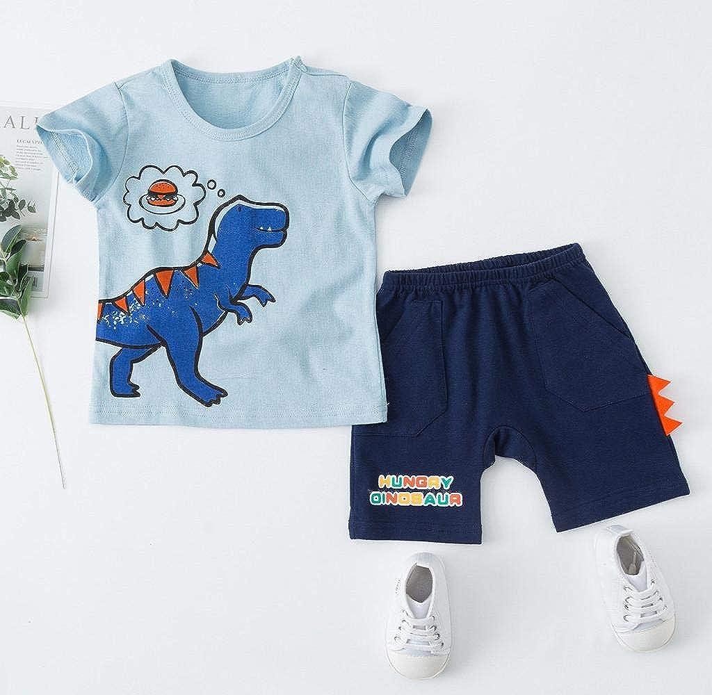 Jimmackey Neonato Bambino Dinosauro T-Shirt Stampa Cime Manica Corta Camicia Pantaloncini Vestiti Completo Abiti Set