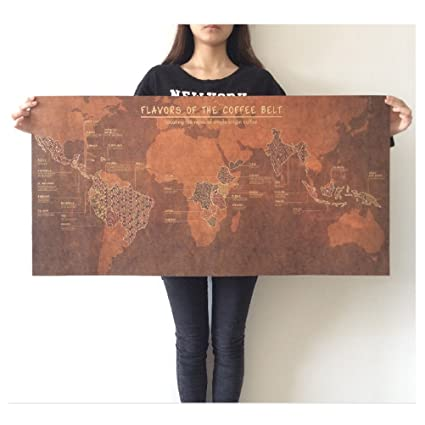 Amazon flavors of the coffee belt world map huge large vintage flavors of the coffee belt world map huge large vintage style retro paper poster gumiabroncs Image collections