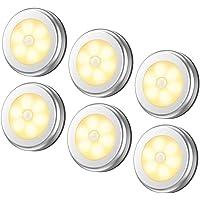 مصابيح حساسة للضوء من 6 قطع، مصابيح ليد ليلية لاسلكية تعمل بالبطارية للممرات والحمام وغرفة النوم والمطبخ، مصابيح للخزائن…