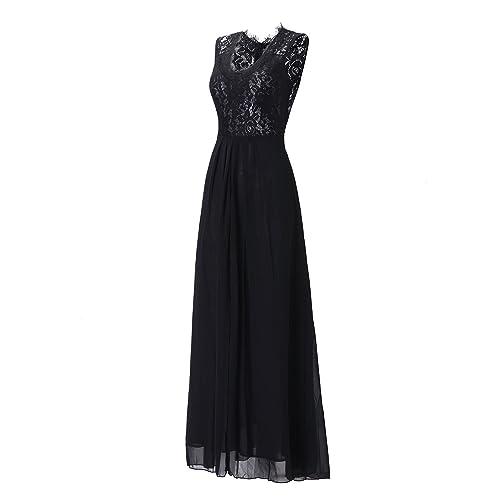 Topmelon Women's Sleeveless V Neck Lace Long Vintage Evening Formal Maxi Dresses