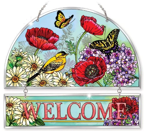 Amia 41568 Parade of Poppies Hand-Painted Beveled Glass Welcome Panel Flowers Birds Butterflies