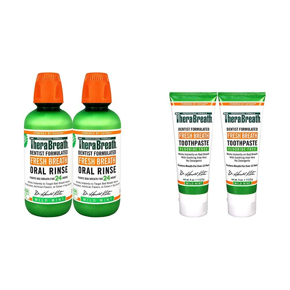 TheraBreath Fresh Breath Oral Rinse, Mild Mint, 16 Ounce Bottle (Pack of 2) and TheraBreath Fresh Breath Toothpaste Fluoride Free Formula, Mild Mint Flavor, 4 Ounce Tube (Pack of 2