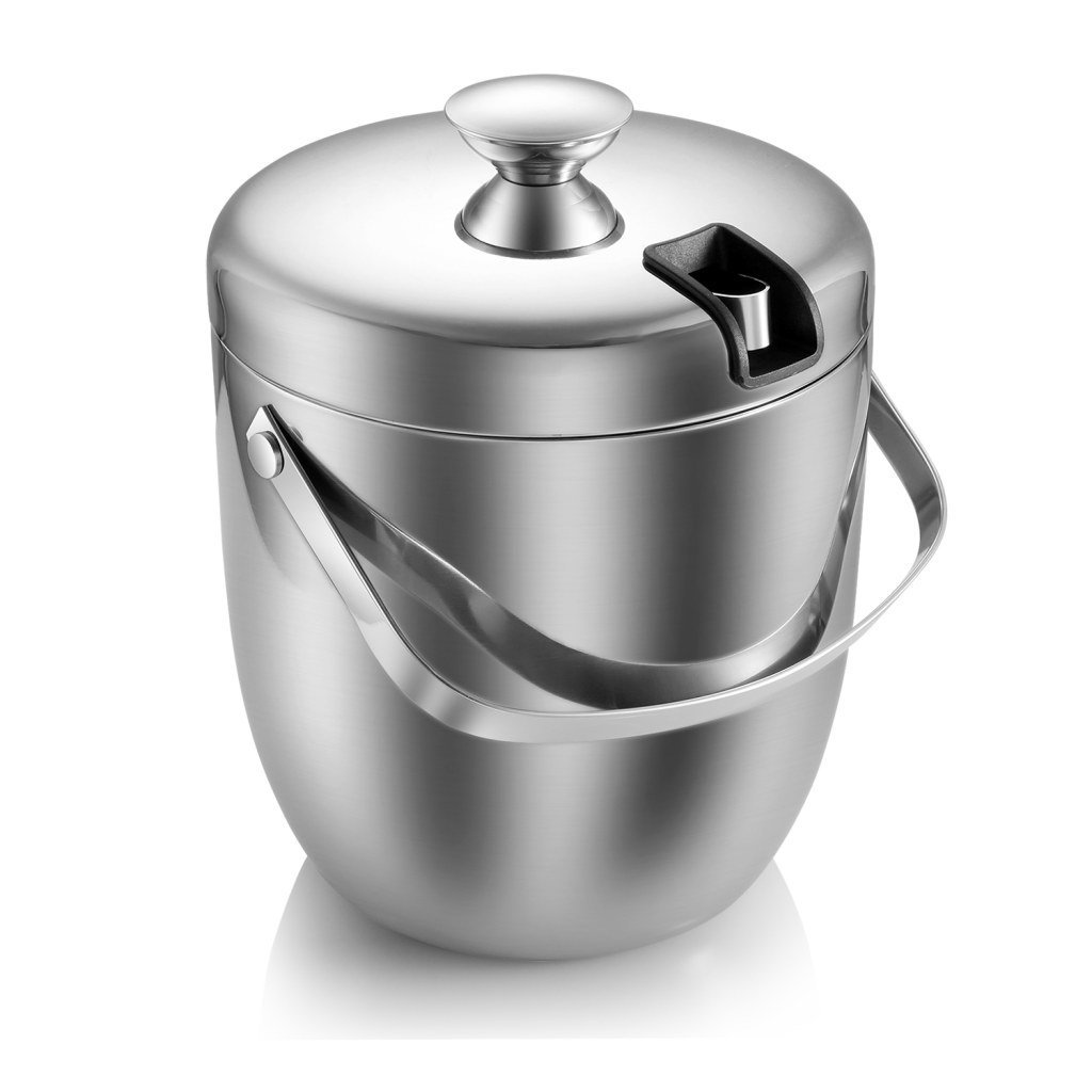 ATECKING Stainless Steel Double Wall Ice Bucket(3L/0.8Gal)Fingerprint-Proof with Tongs