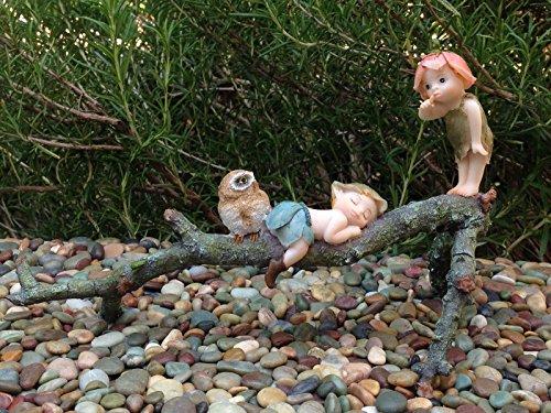 Miniature Figurine Fairy Garden Garden Sprites With Owl On Tree Branch