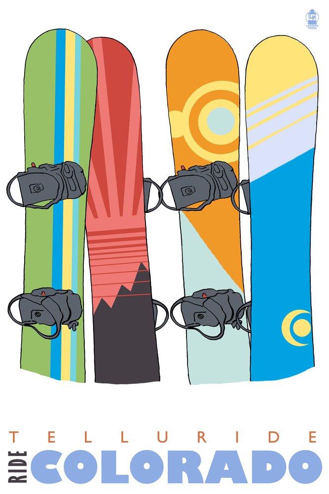 Snowboardsで雪 – Telluride、コロラド州 36 x 54 Giclee Print LANT-24526-36x54 36 x 54 Giclee Print  B01MG3G9T3