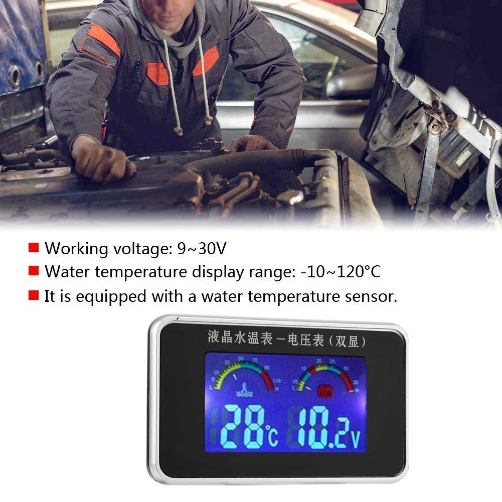 Yctze 2 piezas 12V//24V//36V Volt/ímetro de pantalla LCD para coche Sensor de term/ómetro de agua de 10 mm