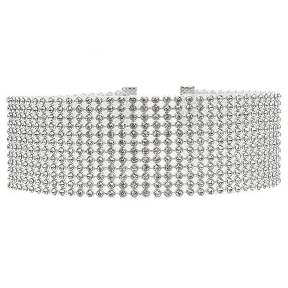603a31a3854c Amazon.com  TraveT Women Girls Full Diamond Crystal Rhinestone Choker  Necklace Jewelry  Home   Kitchen