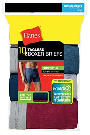 4ff96a5ee917 Hanes Men's 10-Pack Tagless Comfort Flex Waistband Boxer Briefs - Assorted  Colors 734W10 (