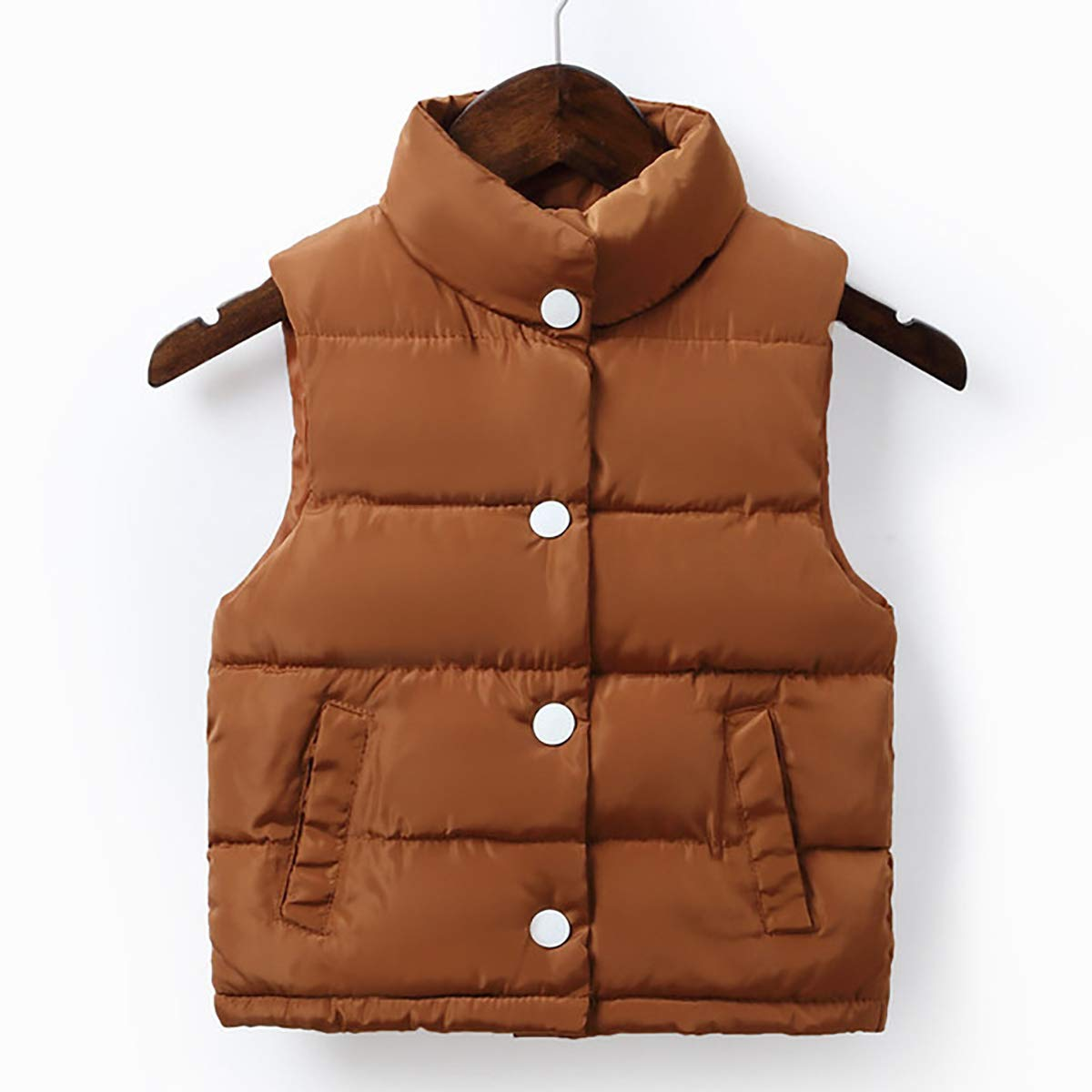 FASH Baby Girls Boys Warm Waistcoat Kids Zipper Closure Thick Gilet Vest Sleeveless Jackets Outwear for 2-6Years,Brown,120cm by FASH