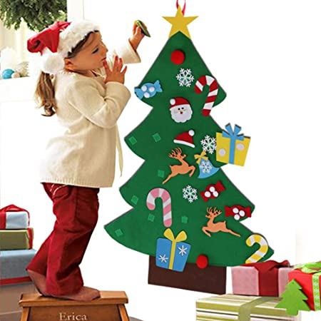 aytai diy felt christmas tree set with ornaments for kids xmas gifts new year door wall