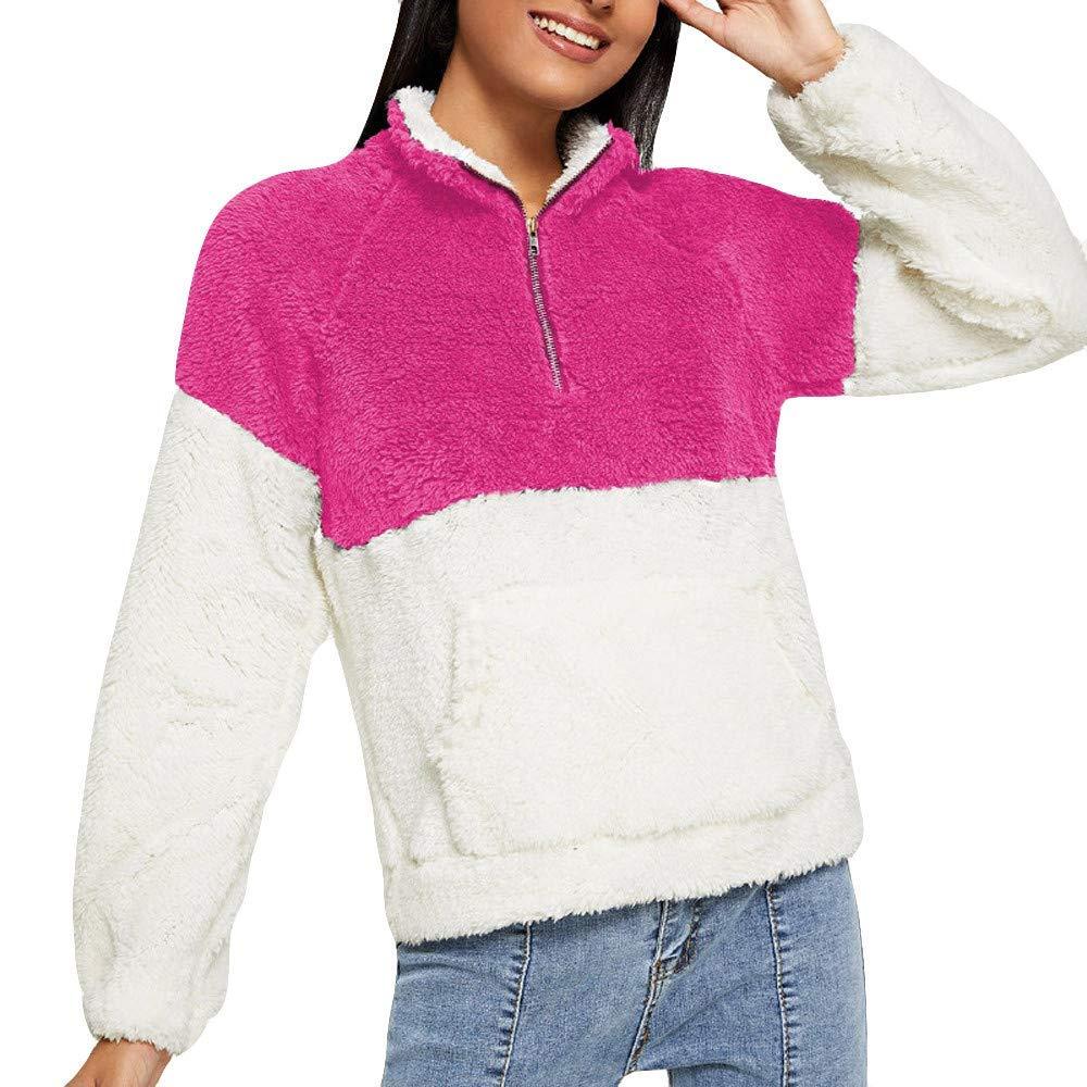 Coogel-Winter Womens Long Sleeve Fleece Sweatshirt Warm Stripe ...