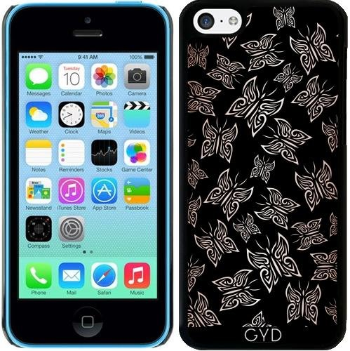 Coque pour Iphone 5c - Papillons Or Rose Noire by Nina Baydur