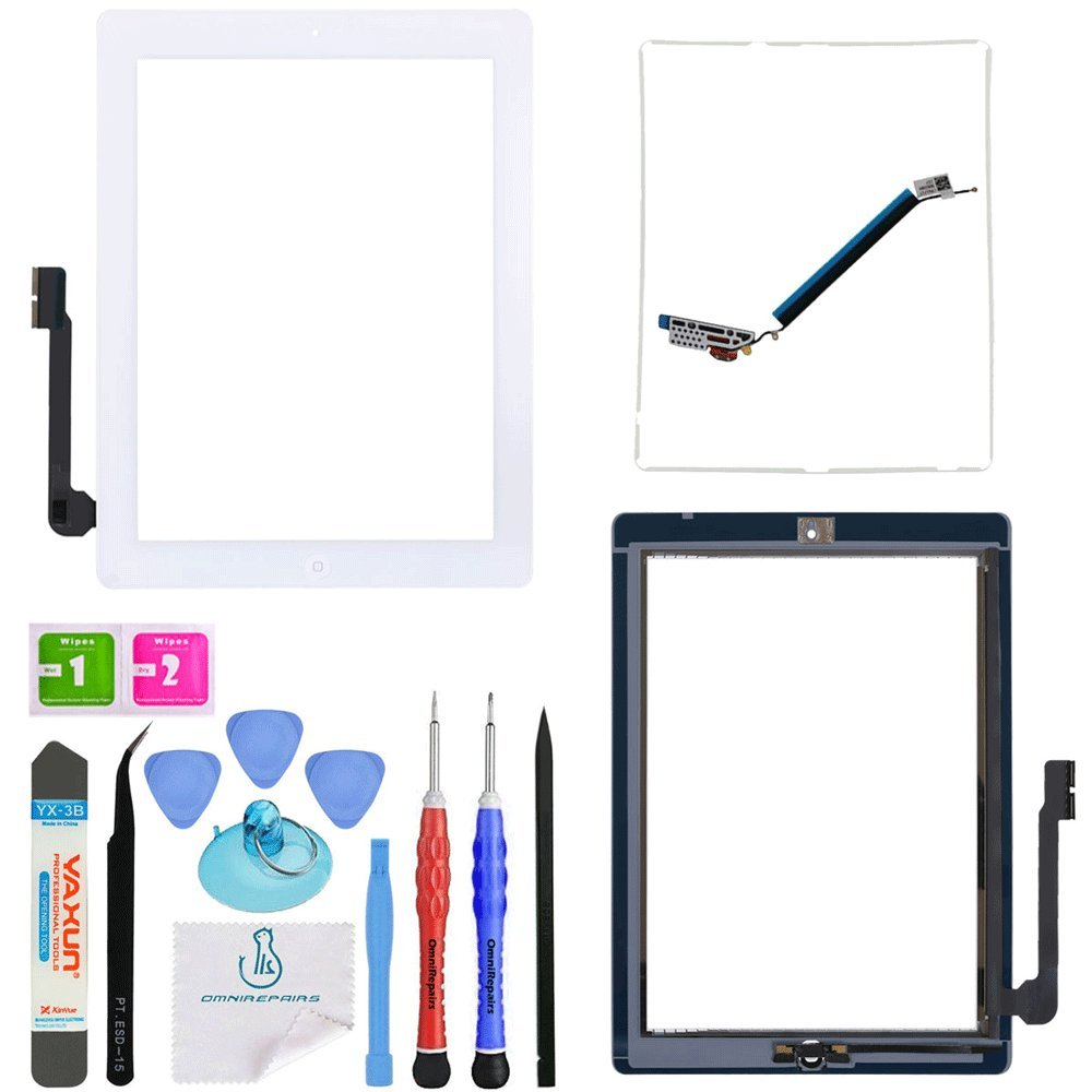 OmniRepairs-For iPad 3 (3rd Generation) Glass Touch Screen Digitizer OEM Assembly Replacement with Home Button Flex, Adhesive Tape, Midframe Bezel, Screen Protector, and Repair Toolkit (iPad 3 White)