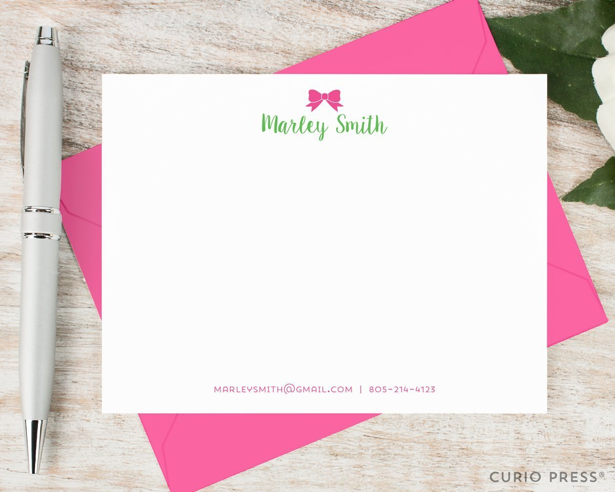 BOW - Personalized Flat Preppy Stationery / Stationary Notecard And Envelope Set by Curio Press