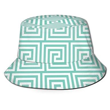 Turquesa Griega Clave Unisex Moda Imprimir Sombrero del Cubo Gorra ...