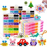Maggift 3600 pcs Fuse Beads with DIY Pegboard and Full Set Accessories,24 Candy colors (a)