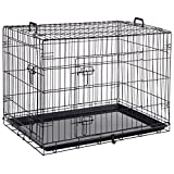 Giantex 36'' 2 Doors Wire Folding Pet Crate Dog Cat Cage Suitcase Kennel Playpen w/Tray (36'')