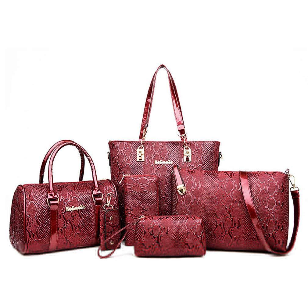 6Sets Women Tote+Shoulder/Messenger+Clutch Composite Serpentine Handbag Bags