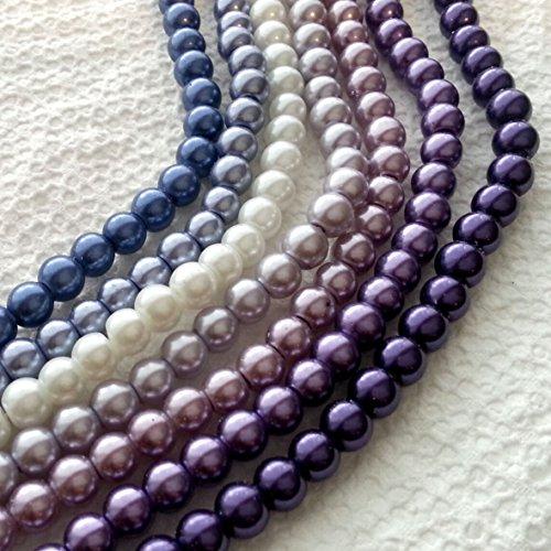 Beading Station 530-Piece 7-Strand Gradual Mix Glass Pearl Round Beads, 6mm, Purple