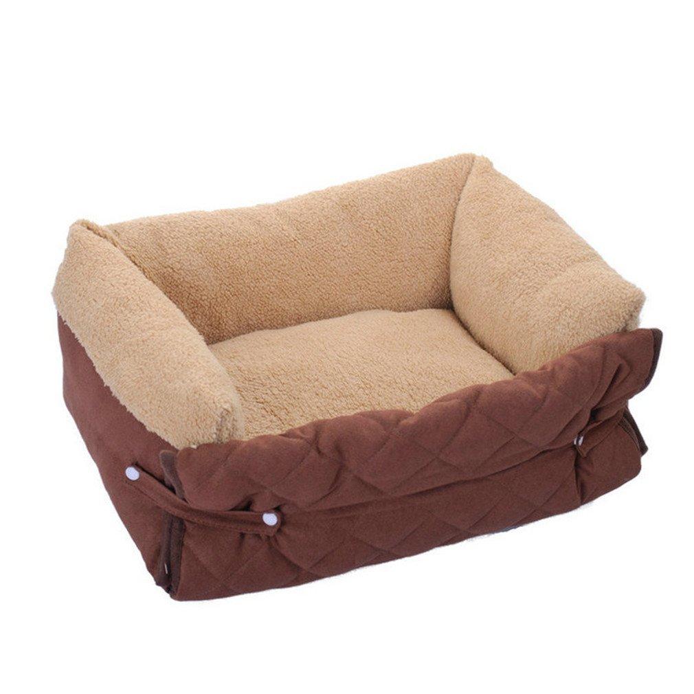 MR-W Dog Bed Mat Multifunction Winter Dog Sofa Cushion Warm Dog House Pet Nest Kennel coffee 70x46x20cm